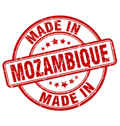 Made in mozambique red grunge round stamp vector