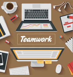 Trendy flat design teamwork office vector