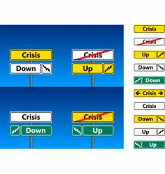 Crisis direction signs vector