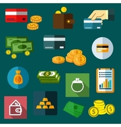 Finance business and money flat icons vector