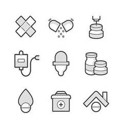 Set of medical pharmacist icons vector