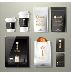 Coffee factory vintage corporate identity template vector