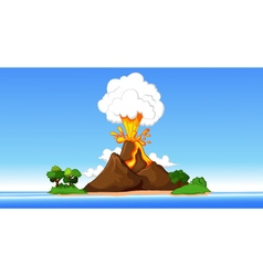 Volcanic eruption cartoon vector