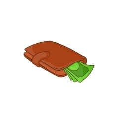 Purse with money icon cartoon style vector