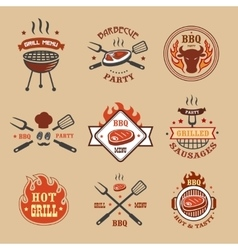 Barbecue grill labels badges Bbq logos vector image vector image