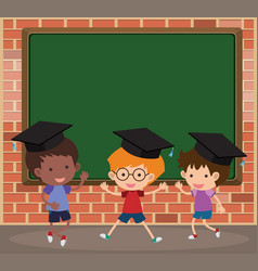 Board template with kids wearing graduation caps vector