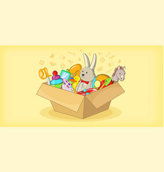Box with toys horizontal banner cartoon style vector