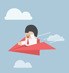 Businessman is flying on paper airplane and lookin vector image vector image