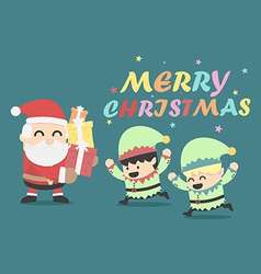 Christmas poster design Christmas card with Santa vector image vector image