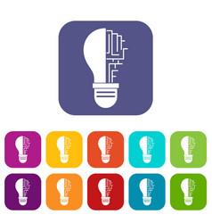 Circuit board inside light bulb icons set flat vector