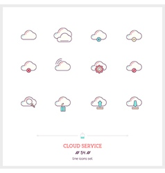 CLOUD SERVICE Line Icons Set vector image
