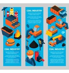 Coal industry isometric banners vector