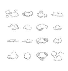 Doodle big set of hand drawn clouds vector