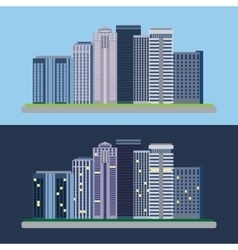 Flat design urban landscape day and night vector image