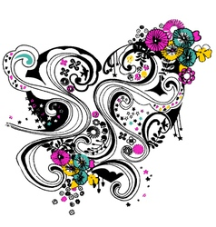 floral heart scroll decorative pattern vector image vector image