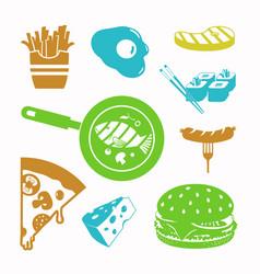 Food black icon set vector