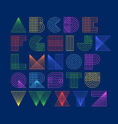 Geometric shapes linear alphabet vector