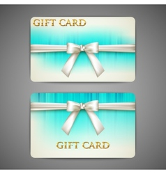 gift cards with white bows and ribbons vector image vector image
