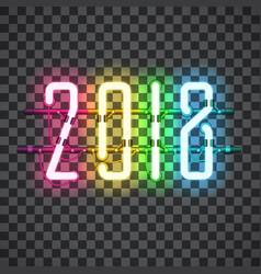 Glowing multi color neon sign 2018 vector