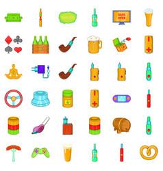 Habit icons set cartoon style vector