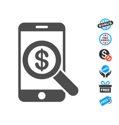 Mobile audit flat icon with free bonus elements vector