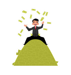 Office worker sitting on money pile vector