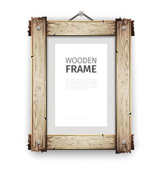 Old wooden frame with white paint vector