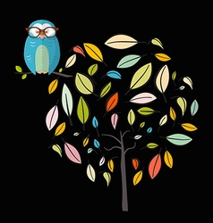 Owl on tree night scene with owl on abstract vector