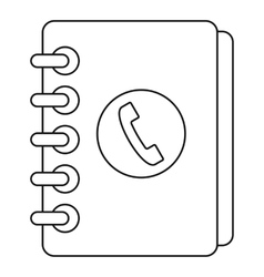 Phone book with handset icon outline style vector