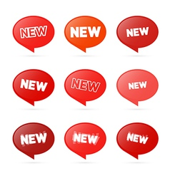 Red Stickers with New Title Isolated on White vector image