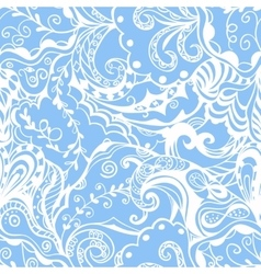 Seamless abstract hand-drawn floral pattern vector image