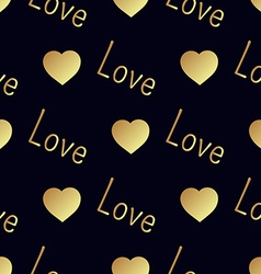 Seamless gold pattern with hearts vector image vector image