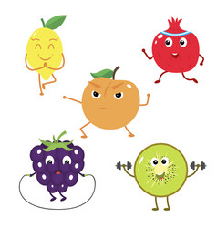set of funny characters from fruit sports vector image vector image