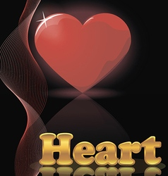 Shiny red heart and gold letters vector image