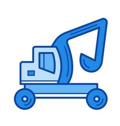 Skid steer loader line icon vector