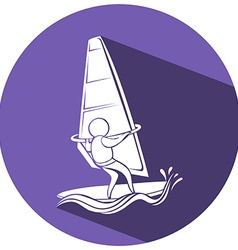 Sport icon for sailing on round badge vector image vector image