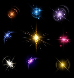 Stars and planet set background vector