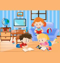 Three kids reading in living room vector