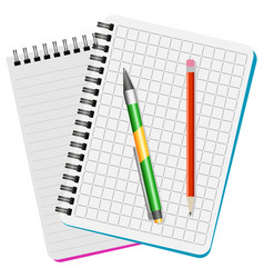 Two notebooks green pen and red pencil vector