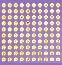 100 yellow icons set in cartoon style vector