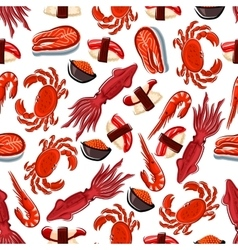 Seamless fish sushi and crustaceans pattern vector