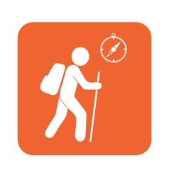 Hiking tourists with compass icon vector