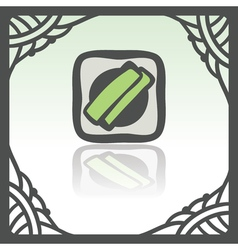 Outline sushi rice roll with green grass japan vector