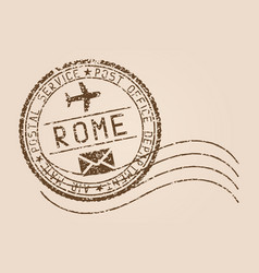 Rome mail stamp old faded retro styled impress vector