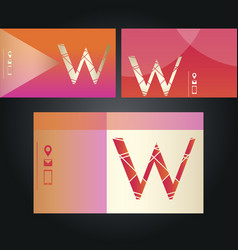 Set of neon business cards with letter w vector