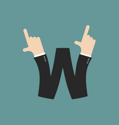 W letter businessman hand font it shows finger vector