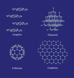 Allotropes of carbon graphite diamond fullerene vector