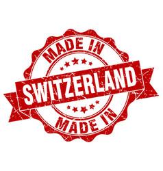 Made in switzerland round seal vector