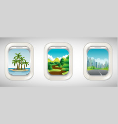 three airplane windows with different views vector image