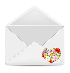 White envelope with flowers heart vector
